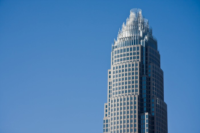 The top of the Bank of America tower in Charlotte, North Carolina.