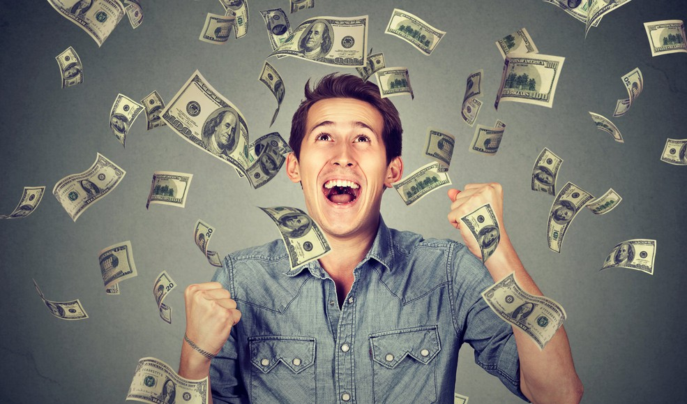 Getty Happy Young Man Shower of Money