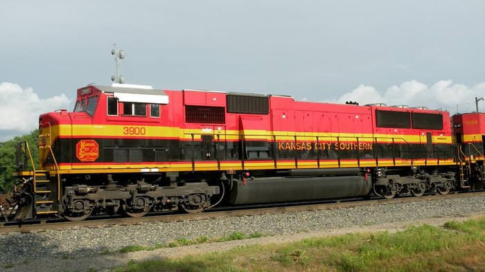 Train with Kansas City Southern markings.