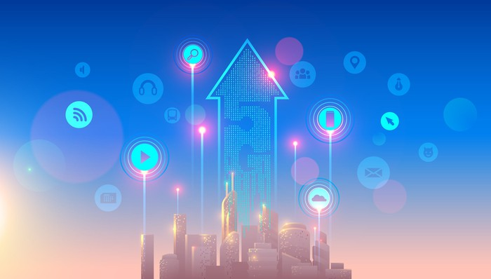Rendering of a city with an arrow pointing to the sky emerging from skyscrapers and 5G written on it.
