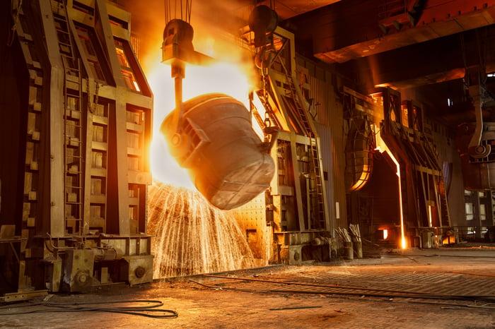A blast furnace in a steel mill.