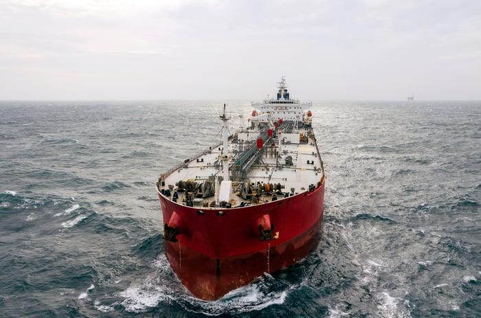 Oil tanker on open water.