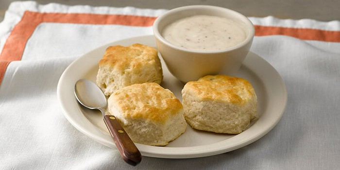Biscuits and gravy at Cracker Barrel.