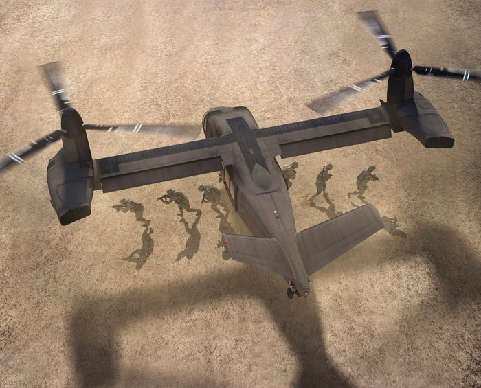 An illustration of Bell's V-280 Valor dropping off troops in a desert setting.