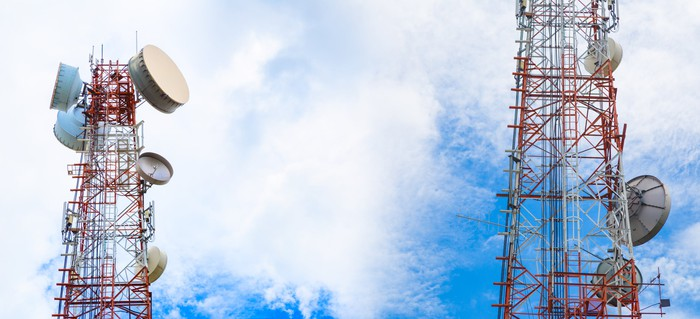 Wireless cellular phone towers.