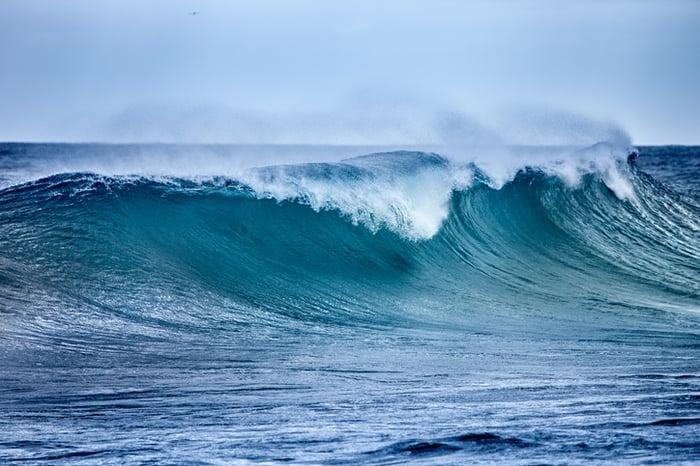 An ocean wave.