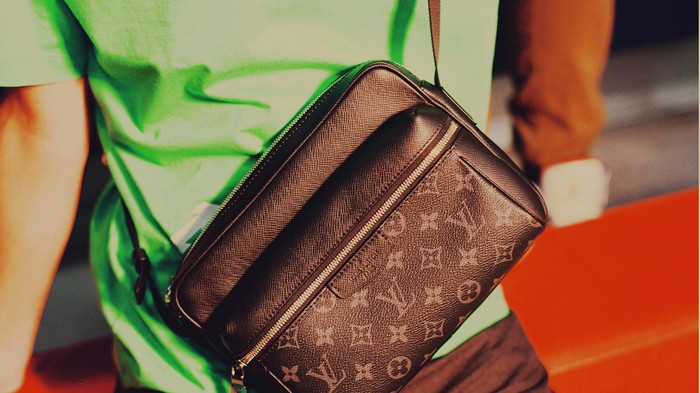 A close-up of a Louis Vuitton bag.