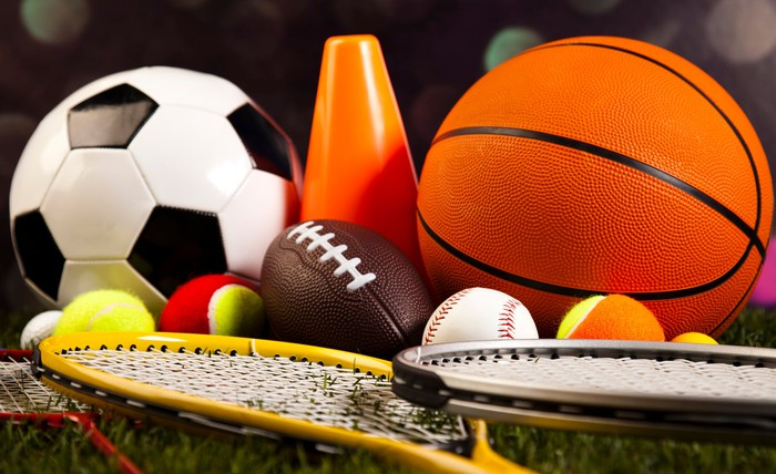 Balls and equipment from different sports