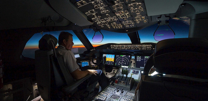 An airplane cockpit