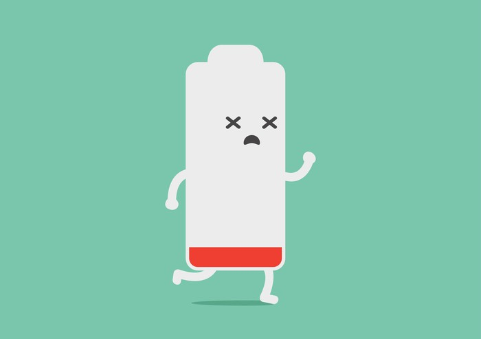 A cartoon of a battery with arms, legs, and a face nearing zero charge with a wiped out look on its face.