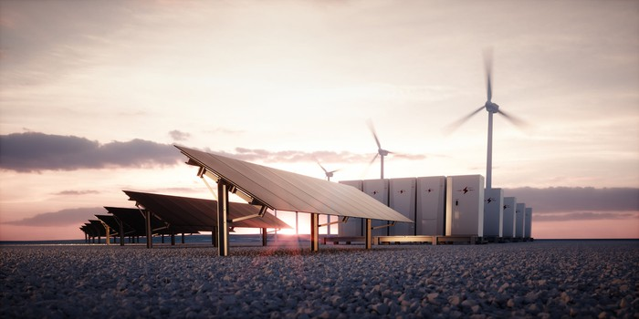 Solar panels, wind turbines, and battery storage with a bright sun in the background.