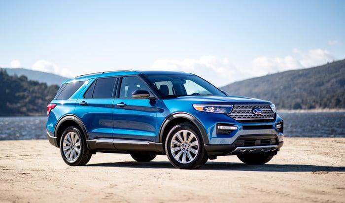 A blue 2020 Ford Explorer, a seven-passenger crossover SUV.