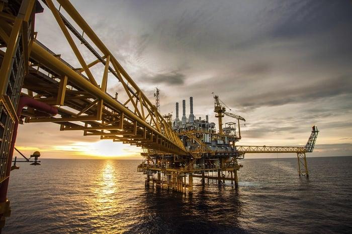 Offshore oil or gas platform.