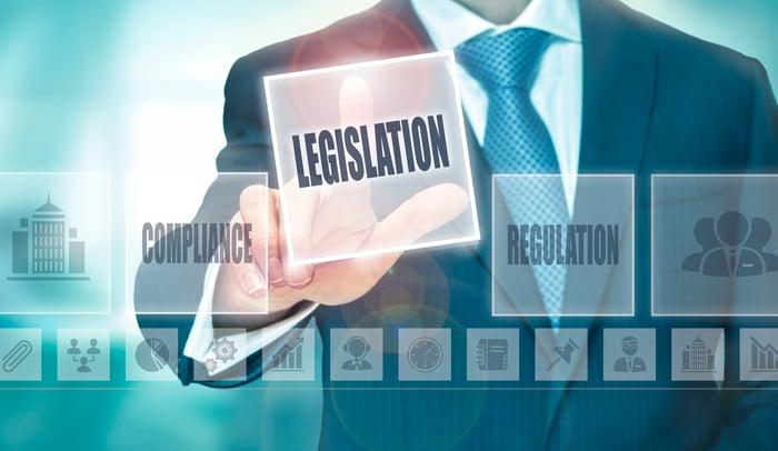 Man choosing legislation button instead of regulation button.