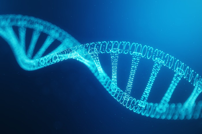 DNA helix on blue background