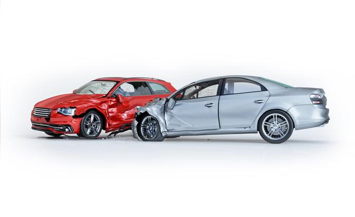Two cars crashing.