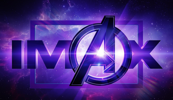 """The Avengers"" logo superimposed over the word IMAX."