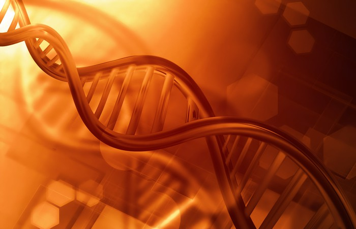 DNA with a reddish background
