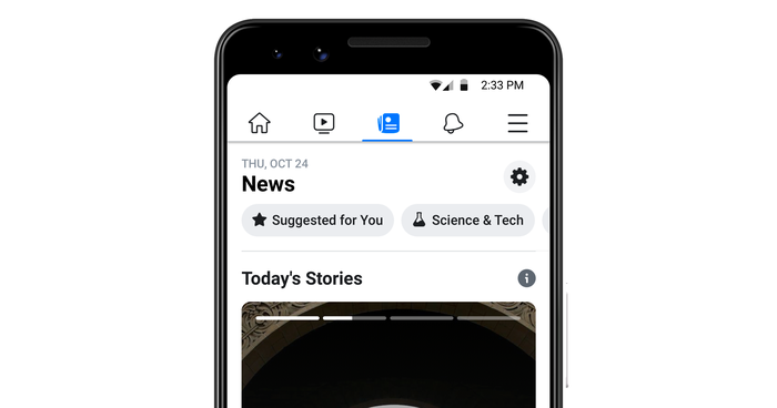 Facebook News tab displayed on a smartphone