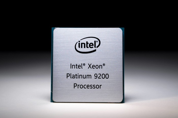 A simple shot of an Intel Xeon Platinum 9200 processor.