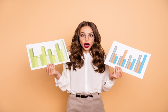 A young woman with glasses holds a paper with bar charts on in each hand. She has a surprised look on her face.