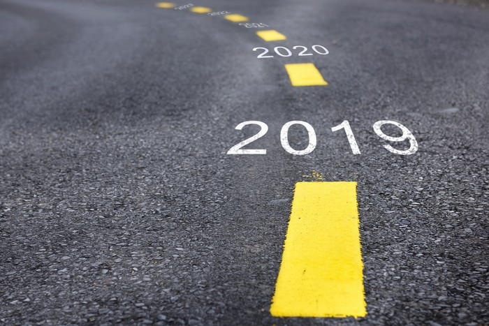 Asphalt road with 2019 and 2020 written on it between yellow dotted lines.