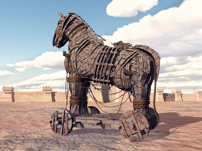 Trojan horse in an open field.