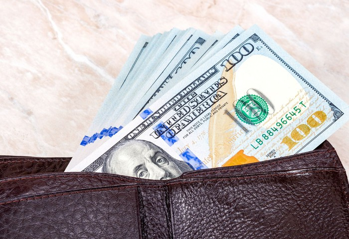Wallet full of hundred dollar bills