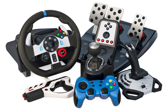 An assort of video game controllers and devices
