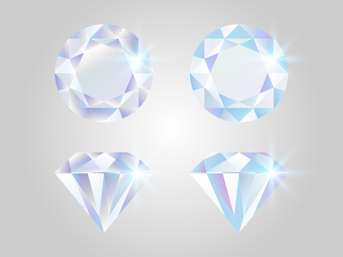 Representation of four diamonds of various cuts