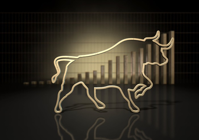 Outline of a bull superimposed on rising bar chart.