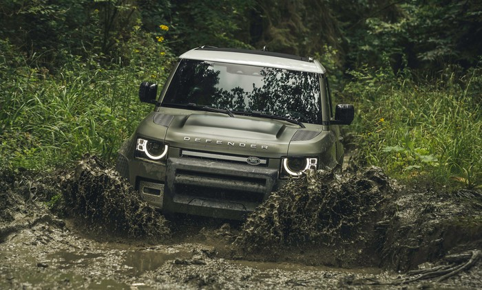 A 2020 Land Rover Defender, an off-road SUV