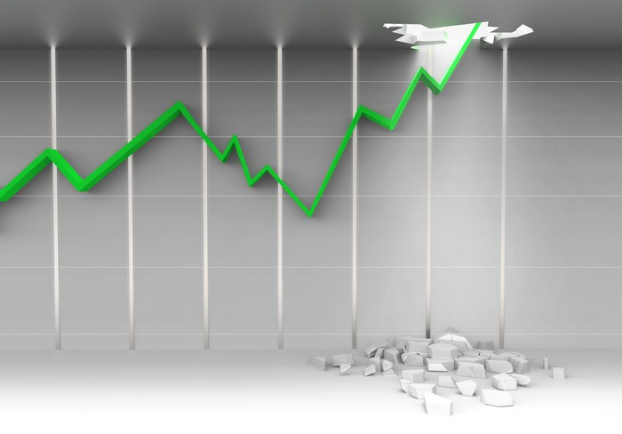 Digital rendering of a green charting arrow rising upward and crashing through the ceiling.