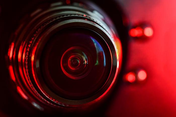 A camera in focus.