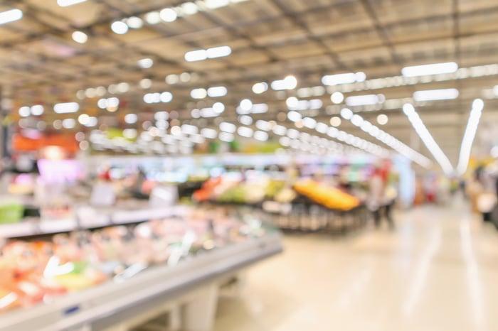 Blurred photo of big box grocery area
