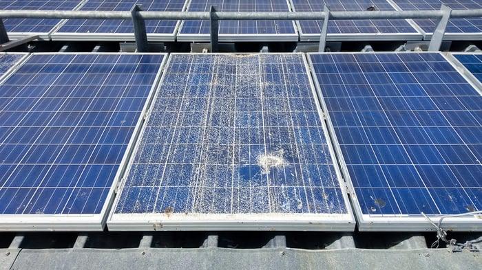 Shattered solar panel