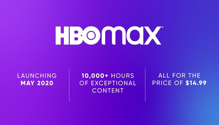 HBO Max logo with pricing and availability details