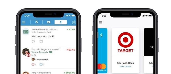 Two smartphones display screenshots of Venmo Rewards