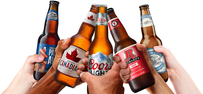 People holding up bottles of various Molson Coors beer brands