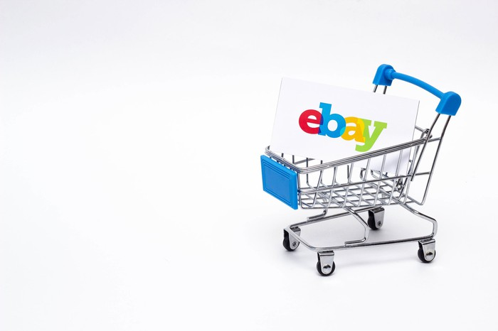 A shopping cart with an eBay branded box inside