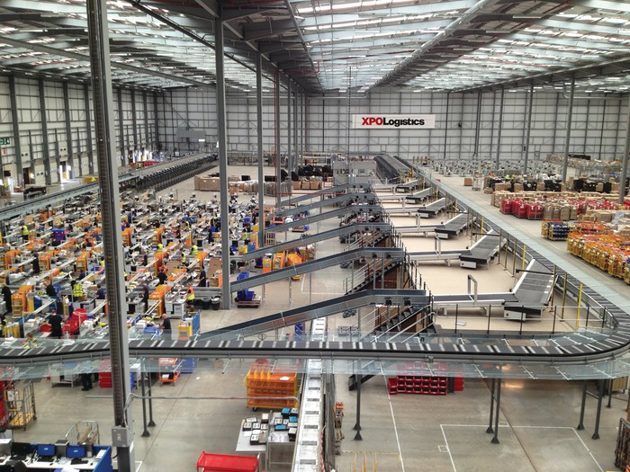 A modernized sorting facility with a conveyor system.