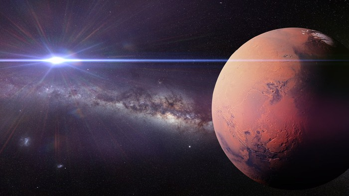 Planet Mars with Sun and Milky Way in background