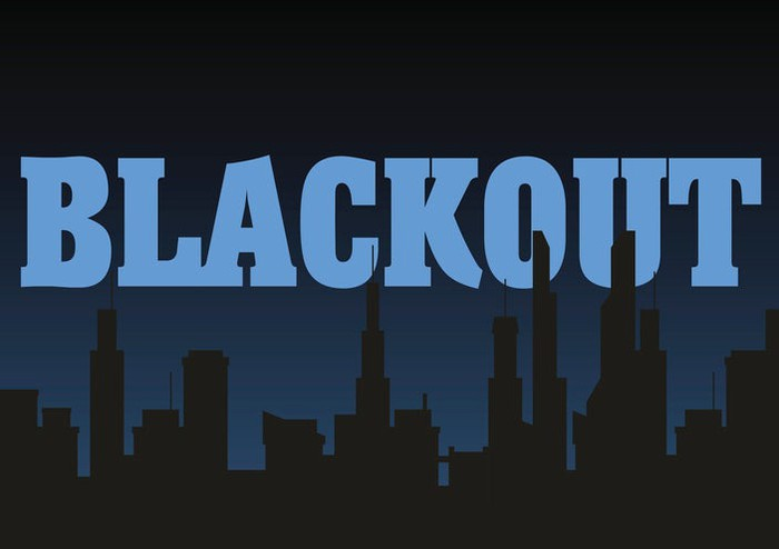 Blackout written in light blue capital letters with a darkened city skyline in the background. inutyight