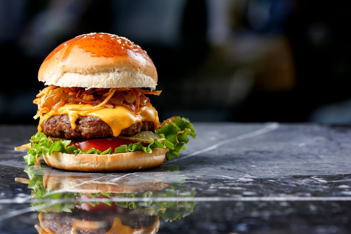 Burger on marble background