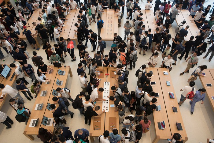 A packed Apple store after the iPhone XS launch in China.