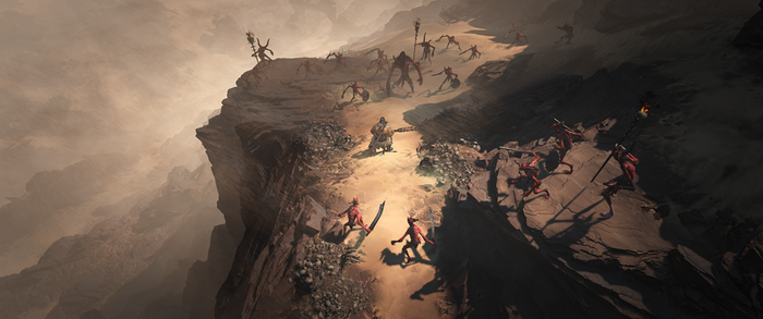 A screenshot from Activision Blizzard's Diablo IV featuring a player battling enemies on a cliff.