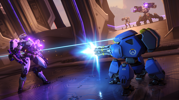 A screenshot from Activision Blizzard's Overwatch 2 featuring players battling robot enemies.