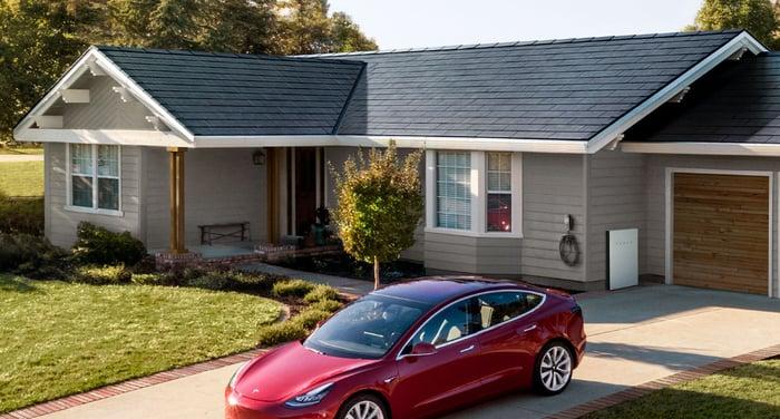 Tesla solar roof tiles as seen on a house