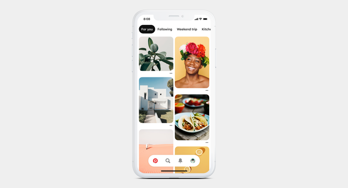 A smartphone displaying Pinterest's new home screen