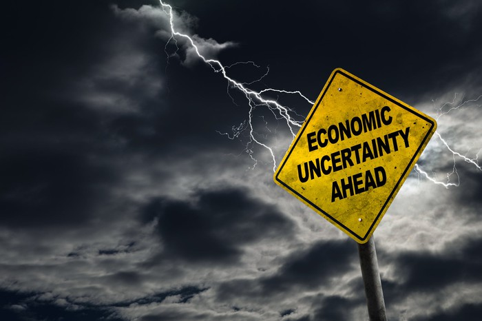 Stormy clouds with lightning flash above a yellow road sign with the words economic uncertainty ahead.